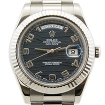 Rolex Day-Date II / President II 18kt White Gold Blue Wave Dial