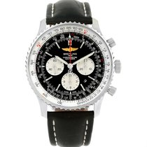 Breitling Navitimer 01 46mm Black Dial Leather Strap Mens...