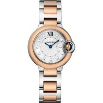 Cartier Ballon Bleu 28mm Steel & 18K Rose Gold Diamond Dial