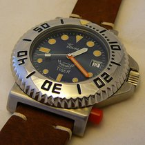 Squale watch TIGER 064 VINTAGE  300mt - blue dial, leather s