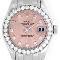 Rolex 18k White Gold Crystal Diamond Pearlmaster Ladies Watch...