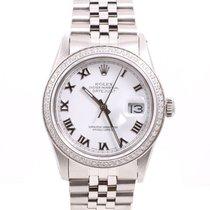 Rolex Mens Quickset Datejust - White Roman Numeral Dial  -...