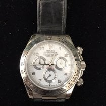 Rolex White Gold Daytona w/ Leather Strap and Arabic Numeral Dial