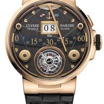 Ulysse Nardin MARINE GRAND DECK Pink Gold Leather Black Strap...