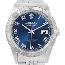 Rolex Turnograph Datejust Steel 18k White Gold Blue Dial Watch...