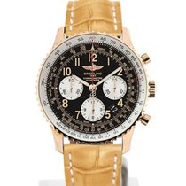 Breitling Navitimer 01 43 Arabic Numeral Dial Gold Case Yellow...