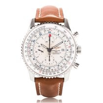 Breitling Navitimer World Silver Mens GMT Chronograph A2432212...