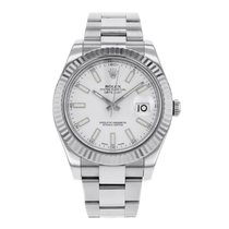Rolex DATEJUST II 41mm 18K White Gold Bezel White Index Dial