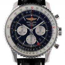 Breitling Navitimer GMT Stahl Automatik Chronograph Lederband...