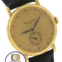 Patek Philippe Calatrava 18k Yellow Gold Champagne 33mm Watch...