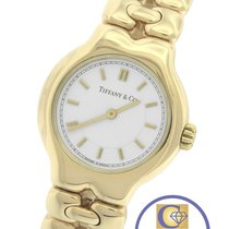 Tiffany Tesoro 18K 750 Yellow Gold White Stick Quartz Watch L0133