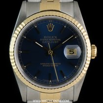 Rolex S/Steel & 18k Y/Gold Blue Baton Dial Datejust Gents...