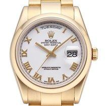 Rolex Day-Date 36 18 kt Gelbgold Ref. 118208 Weiß Römisch