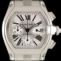 Cartier S/S Silver Dial Roadster Chronograph XL Gents B&P...