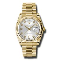 Rolex Day-Date 36 118238 Gold Watch (Silver Set with Diamonds)