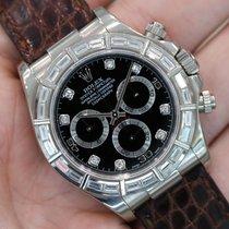Rolex Daytona 116589 18k White Gold Black Dial W/ Baguette...