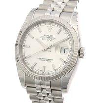 롤렉스 (Rolex) Datejust Silver Sun Beam Dial White Gold Steel...