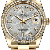 Rolex Day-Date 36mm Yellow Gold Diamond Bezel 118348 Meteorite...