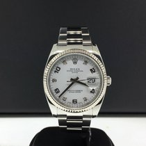 Rolex Date 34mm Ref. 115234 Steel 18k Bezel Factory Diamond...