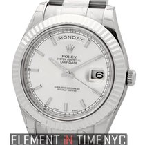 Rolex Day-Date II President 18k White Gold Silver Stick Dial