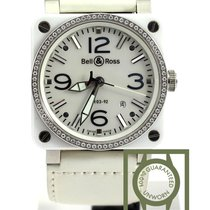 Bell & Ross BR03-92 white ceramic diamonds automatic 42mm NEW