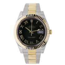 Rolex DATEJUST II 41mm 18K Yellow Gold Bezel Black Roman Dial
