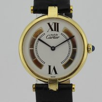 Cartier Must de Vermeil Ronde Gold Plaque Quartz Ladies 084381