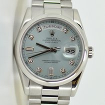 Rolex 118206 Day-Date Ice Blue Dial President Bracelet Platinum