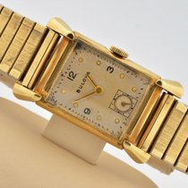 Bulova 14k Yellow Gold Fancy Lugs Manual Wind Silver Dial