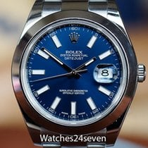 Rolex Datejust II Stainless Steel Smooth Bezel Blue Stick Dial...