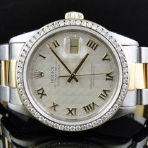 Rolex Mens Excellent 2 Tone Rolex Datejust Oyster Diamond...