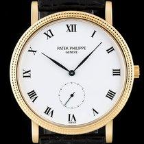 Patek Philippe 18k Yellow Gold White Enamel Dial Calatrava 3919J
