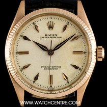 Rolex 18k R/G Rare Oyster Perpetual Silver Dial Vintage Gents...