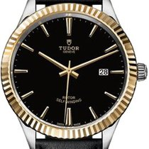 Tudor Style 41 Mm Steel Case Leather Strap Black Dial - 12713