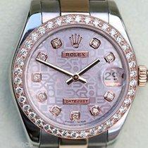 Rolex Datejust Ladies Midsize Two Tone 18k Rose Gold Diamond...
