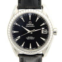 Omega Seamaster Stainless Steel With Diamonds Black Automatic...