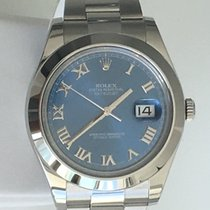 Rolex Datejust II 41mm Blue Dial Roman Stainless Steel Oyster...