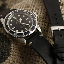 Vintage leather watchstrap  Black leather with a single stitch