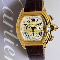 Cartier 2619 Roadster Chronograph 18k Yellow Gold Mens Watch...