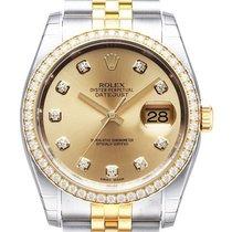 Rolex Datejust 36 Edelstahl Gelbgold Diamant 116243 Champagner...