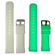 "Genuine Deep Blue 22-24mm White Silicon Strap ""luminous&#3..."