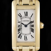 Cartier 18k Yellow Gold Silver Dial Tank Americaine Ladies