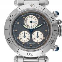 Cartier Pasha Stahl Quarz Chronograph Chronometer Armband...