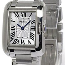 Cartier Tank Anglaise Small Silvered Flinqué dial Women Watch...