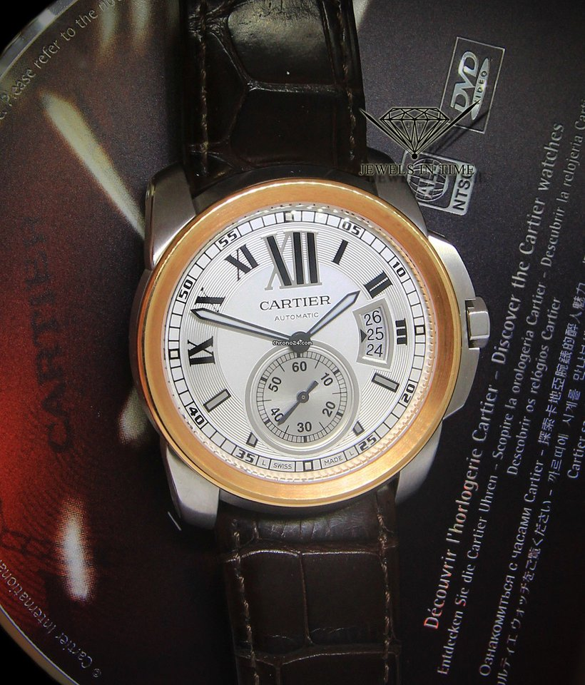 cartier calibre 18k rose goldsteel mens 42mm watch boxpapers for for sale from a trusted seller on chrono24