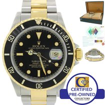 Rolex Submariner 16613 Steel 18k Gold Two Tone Black Date...
