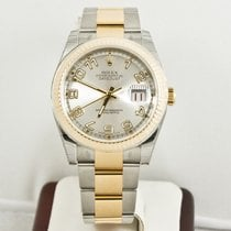 Rolex Mens 36mm Steel & Gold Datejust  116233 Silver Face