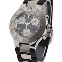 Cartier 2424 Must Chronoscaph 21 in Steel - on Rubber and...