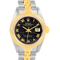 Rolex Datejust Steel Yellow Gold Black Pyramid Dial Ladies...