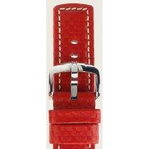 Hirsch Uhrenarmband Leder Carbon rot L 02592020-2-22 22mm